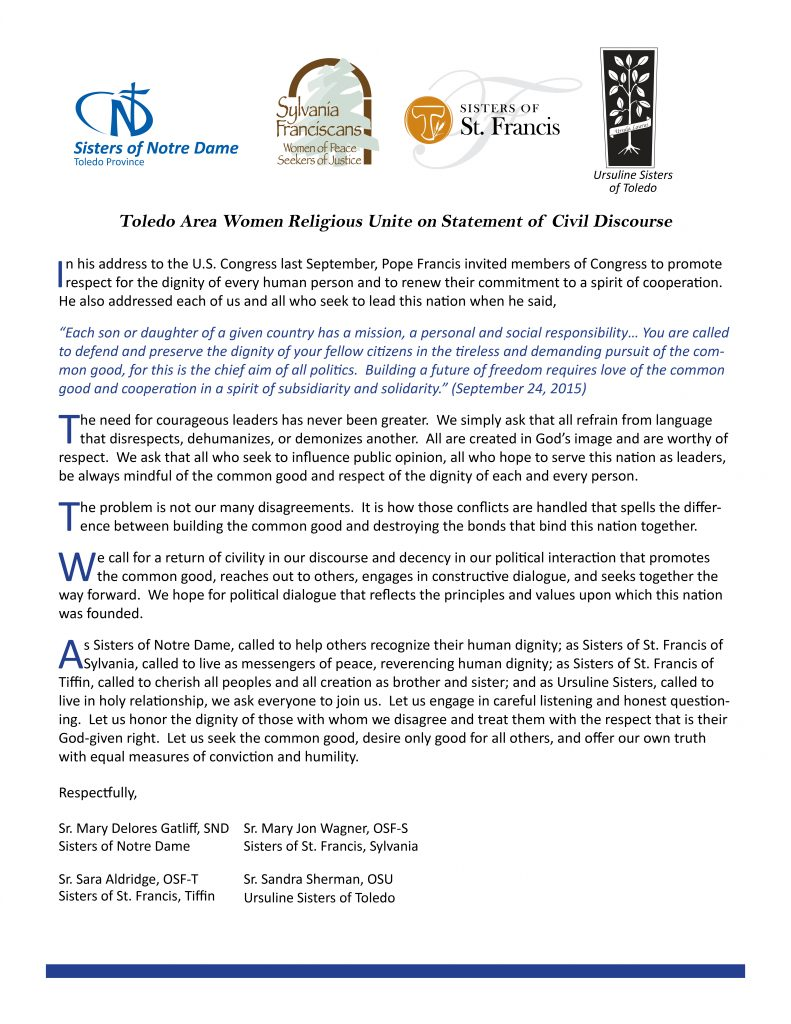 civil discourse statement -July 2016